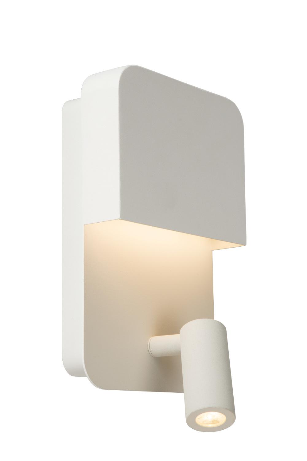 Lucide BOXER Wandlicht LED 5W+3W + USB Wit