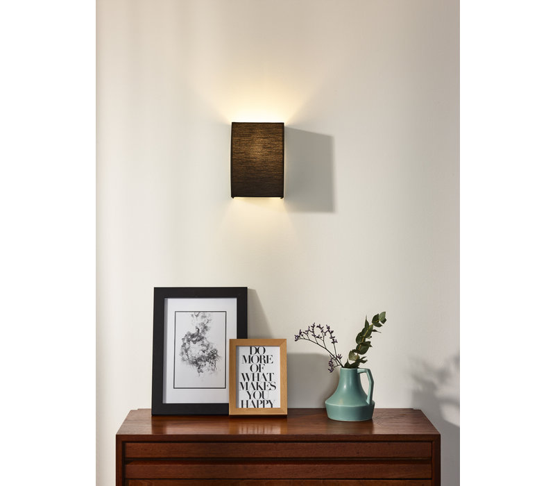 CORAL Wandlicht E14 Kap Rechth. H20cm Zwart