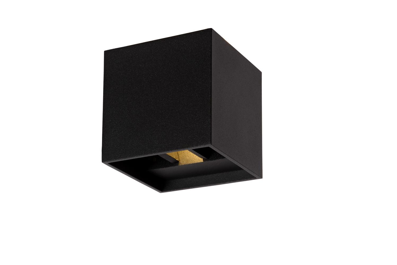 Lucide XIA Wandlicht IP54 LED 2W 3000K 8/8/8cm Zwart