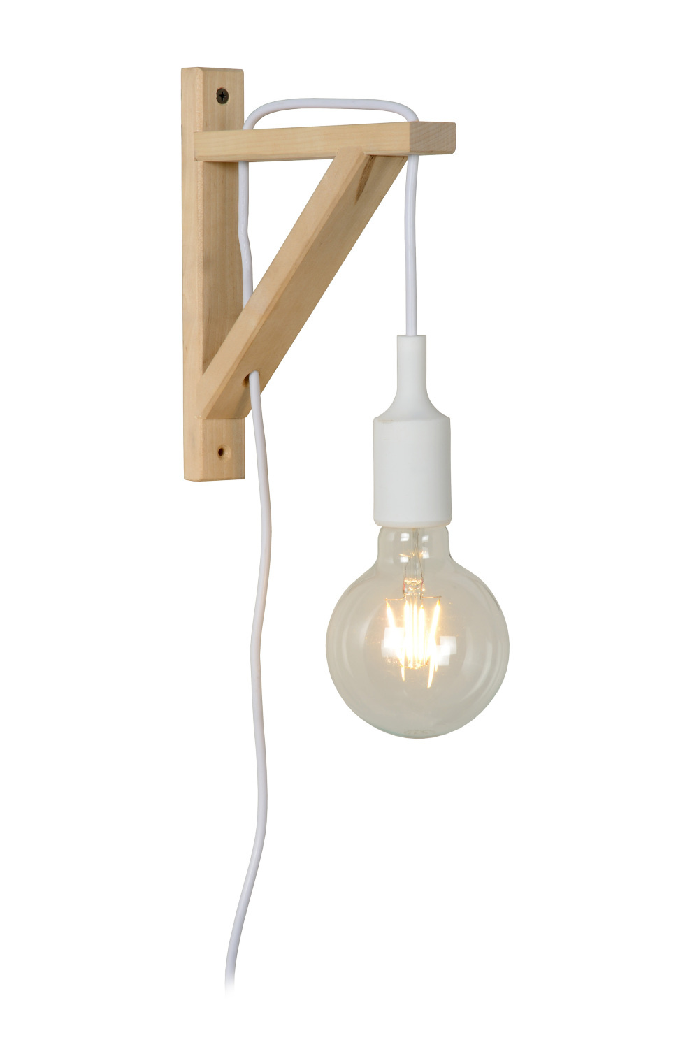 Lucide FIX Wandlicht E27excl H22cm Hout/Wit