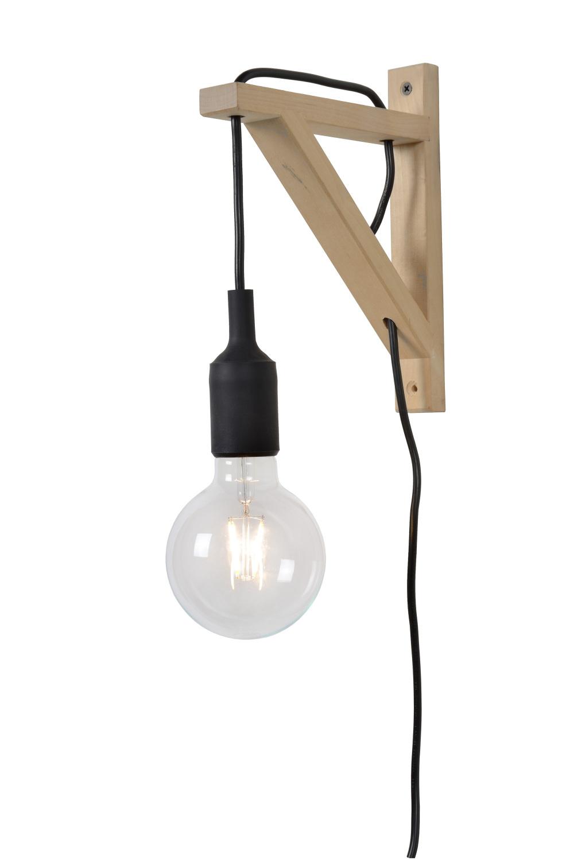 Lucide FIX Wandlicht E27excl H22cm Hout/Zwart