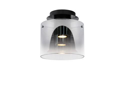 Lucide OWINO Plafonnière GU10 LED Ø 20cm Zwart/Smoke Glas
