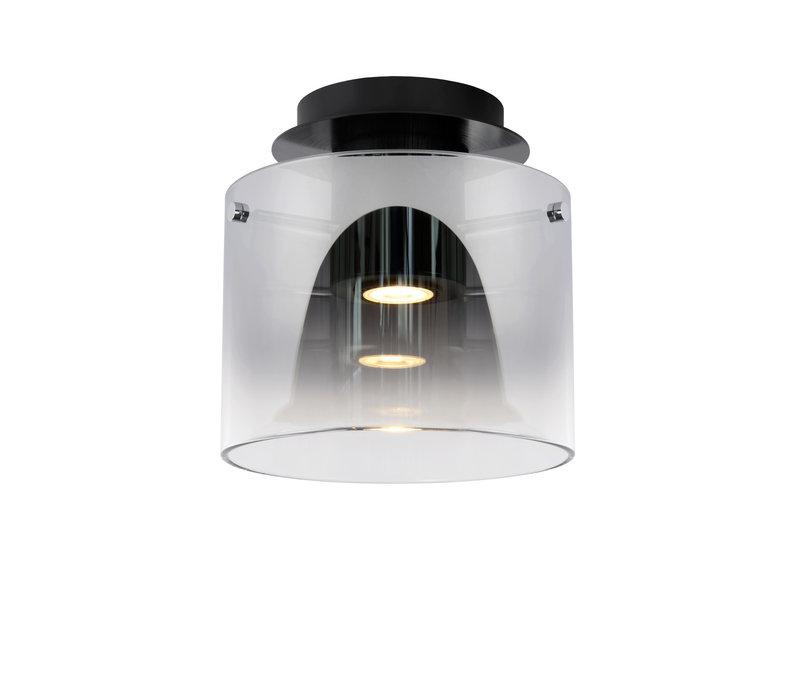 OWINO Plafonnière GU10 LED Ø 20cm Zwart/Smoke Glas