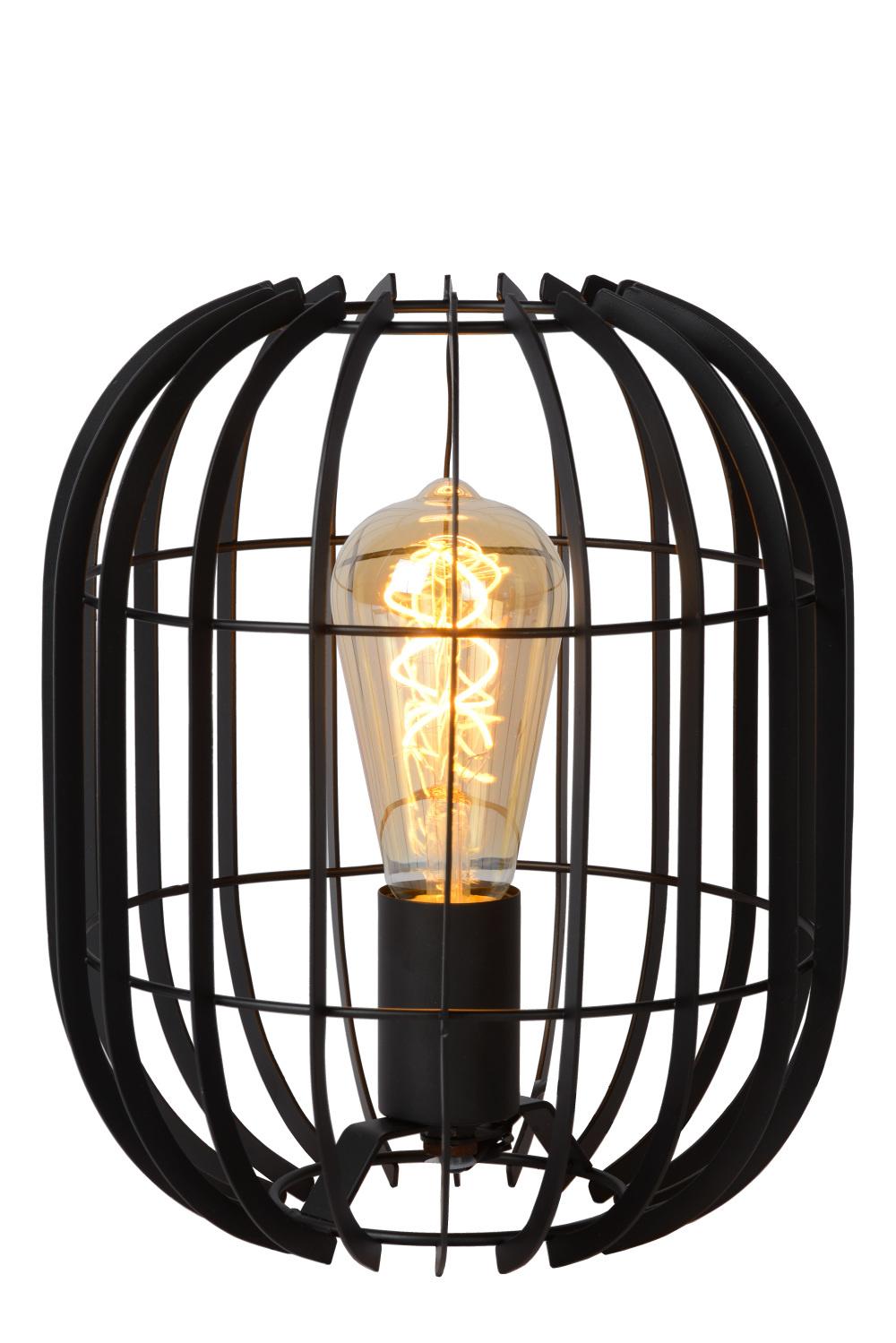 Lucide REDA Tafellamp-Zwart-Ø22-1xE27-40W-Metaal
