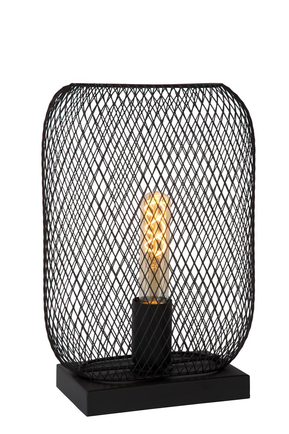 Lucide MESH Tafellamp-Zwart-1xE27-60W-Metaal