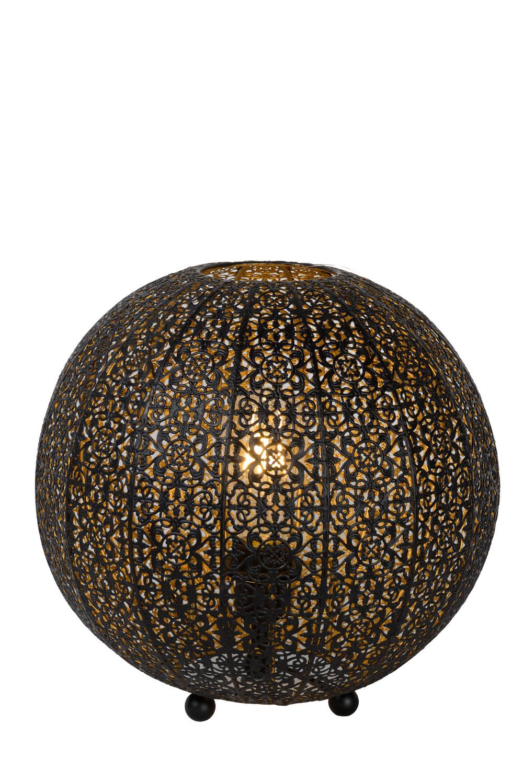 Lucide TAHAR Tafellamp-Zwart-Ø33-1xE27-60W-Metaal