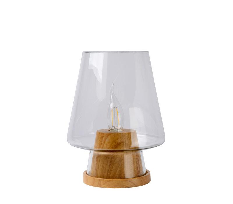 GLENN Tafellamp E14 D19 H25cm Natuurlijk Hout