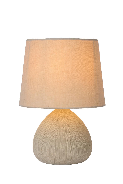 Lucide RAMZI Tafellamp-Beige-Ø18-1xE14-40W-Kerami.