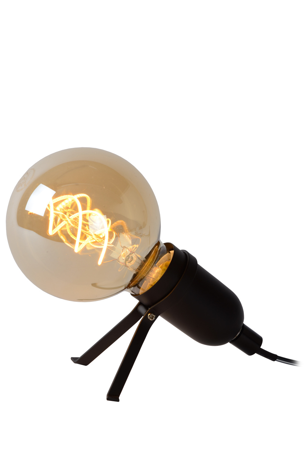 Lucide PUKKI Tafellamp-Zwart-LED-1xE27-5W-2200K-Metaal