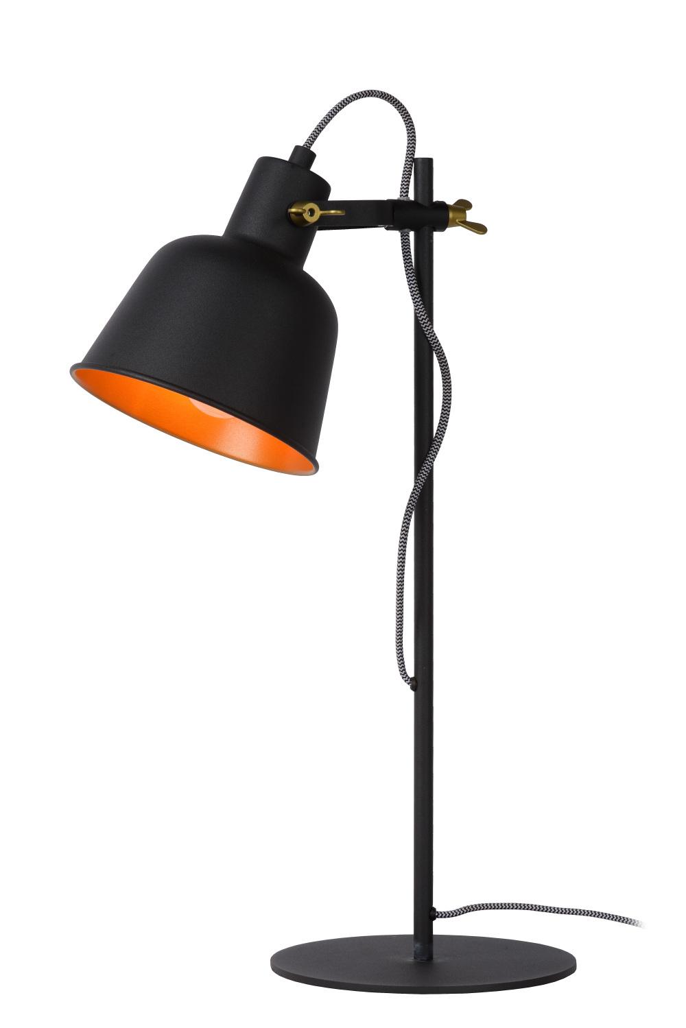 Lucide PIA Tafellamp-Zwart-1xE27-60W-Staal