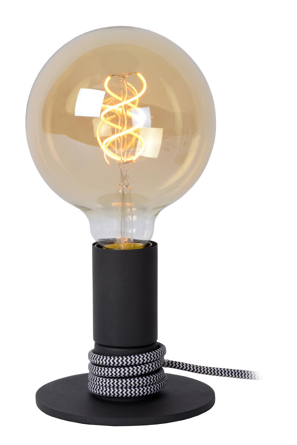 Lucide MARIT Tafellamp-Zwart-Ø10-1xE27-40W-Staal