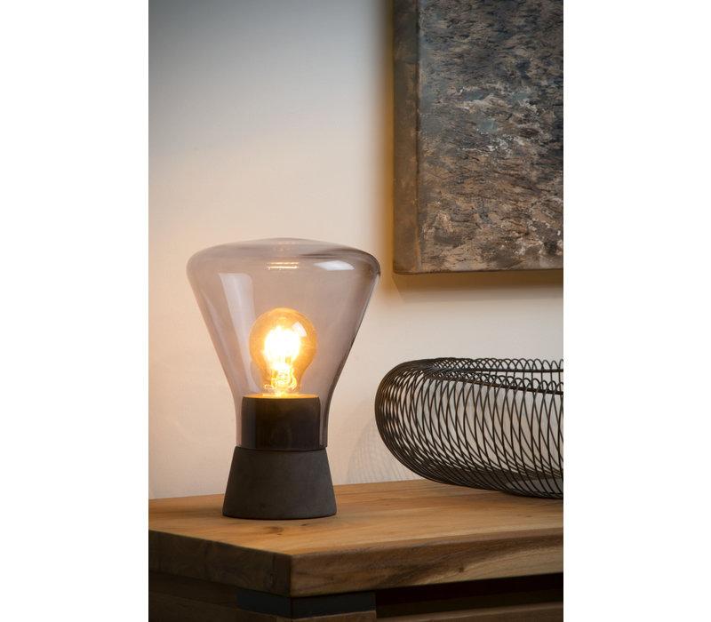 BARRY Tafellamp-Fumé-Ø16,5-1xE27-40W-Glas