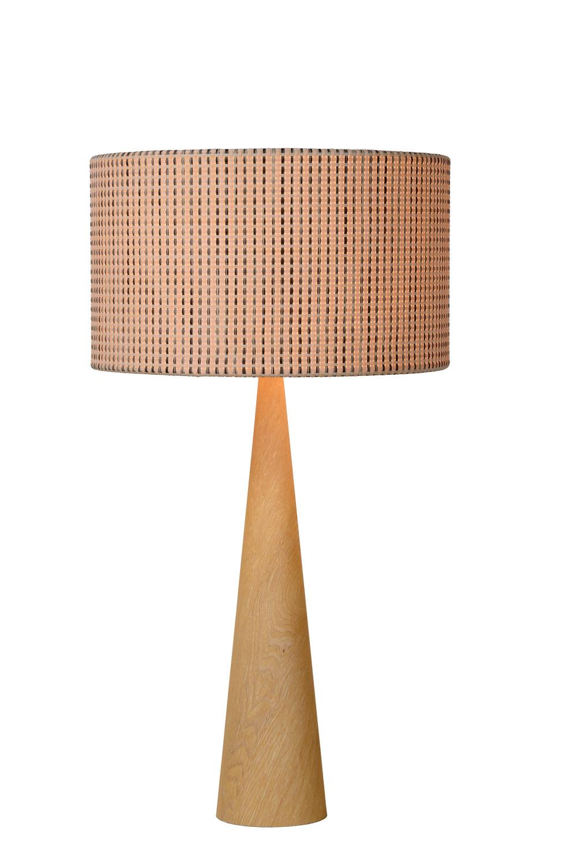 Lucide CONOS Tafellamp E27 H65 D35cm Hout/Kap Bruin