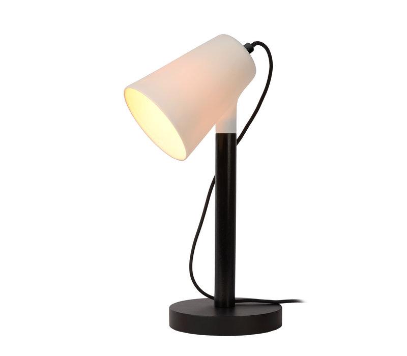 BRYTON Tafellamp E14/25W Zwart Porcelein/hout/Ceme