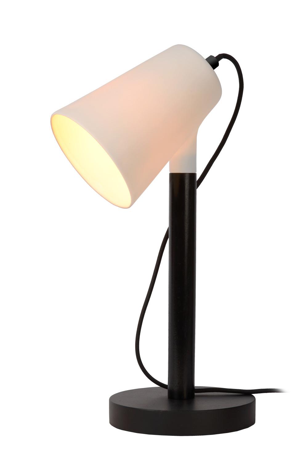 Lucide BRYTON Tafellamp E14/25W Zwart Porcelein/hout/Ceme