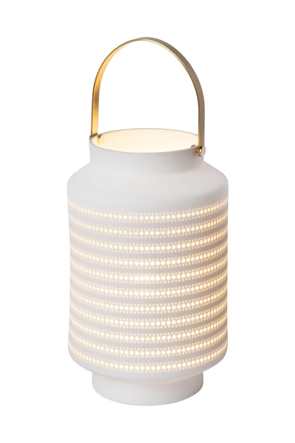 Lucide JAMILA Tafellamp-Wit-Ø15,5-1xE14-25W-Porsel.