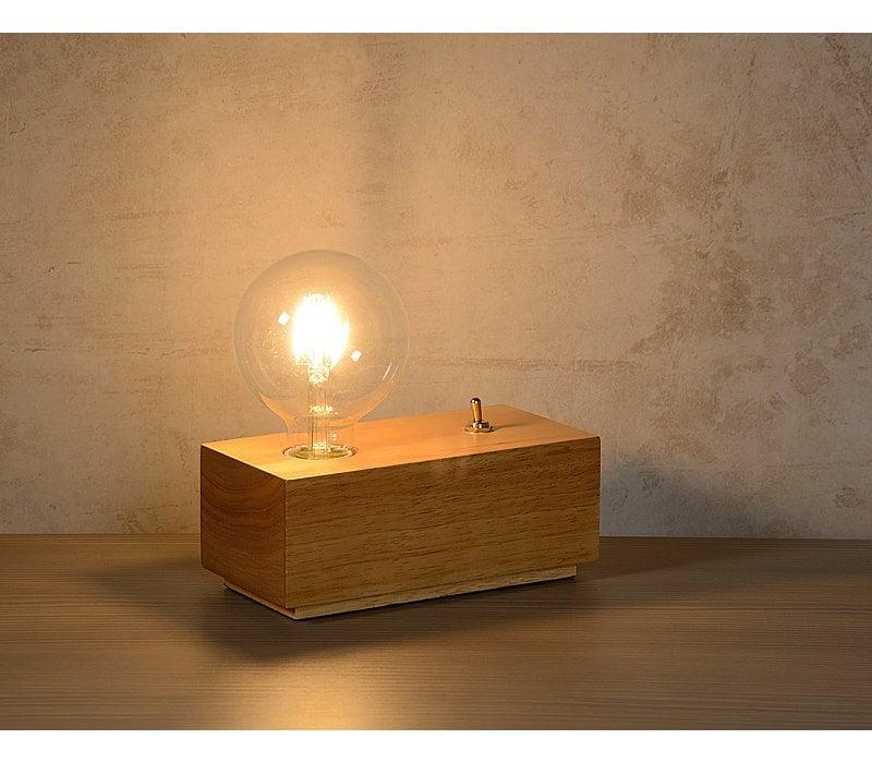 EDISON Tafellamp E27/4W L20 B10 H19cm Hout