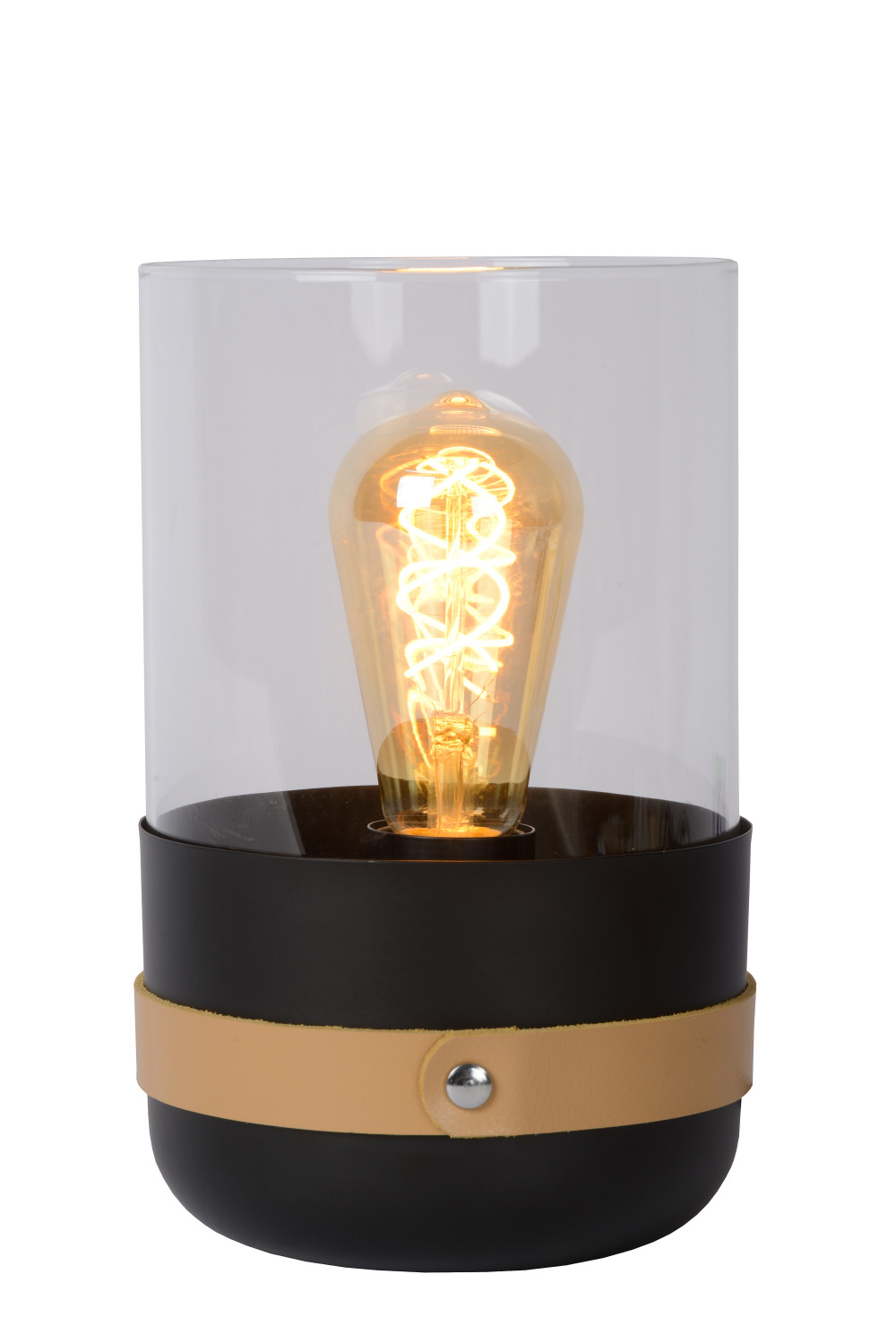 Lucide CENTUR Tafellamp-Zwart-Ø15-1xE27-40W-Glas