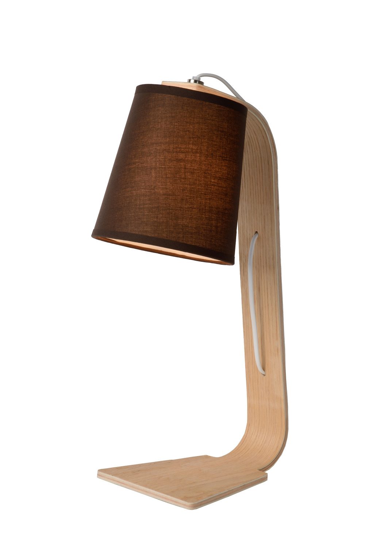 Lucide NORDIC Tafellamp E14 15.5/19/48cm Hout/Kap Zwart