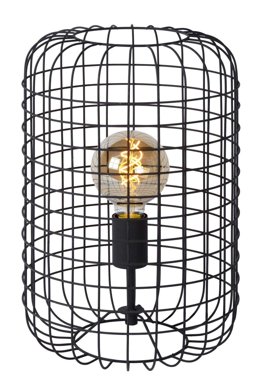 Lucide ESMEE Tafellamp-Zwart-Ø26-1xE27-60W-Metaal