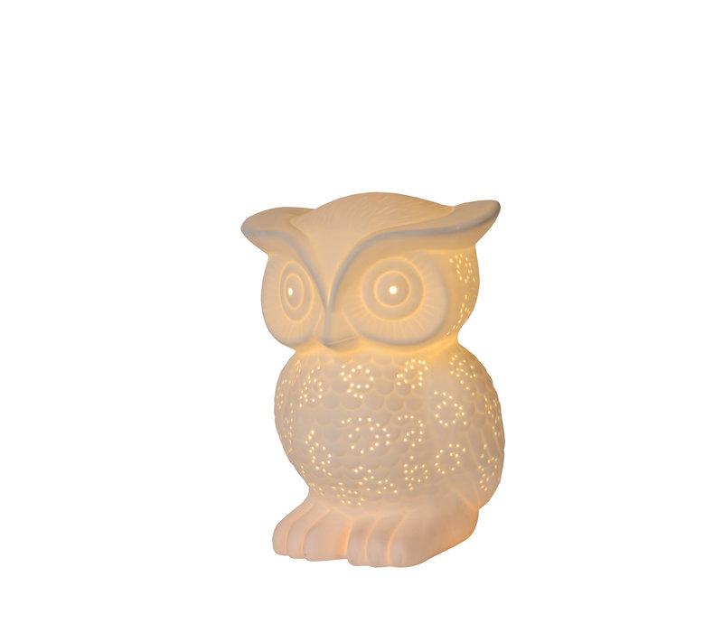 OWL Tafellamp E14 H25cm Wit Porcelein