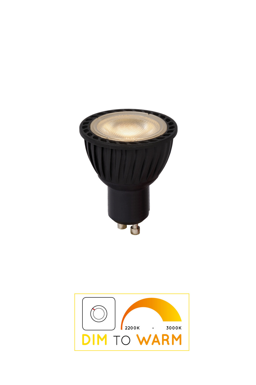 Lucide Led Bulb Dimbaar Gu10/5w Dim To Warm Zwart