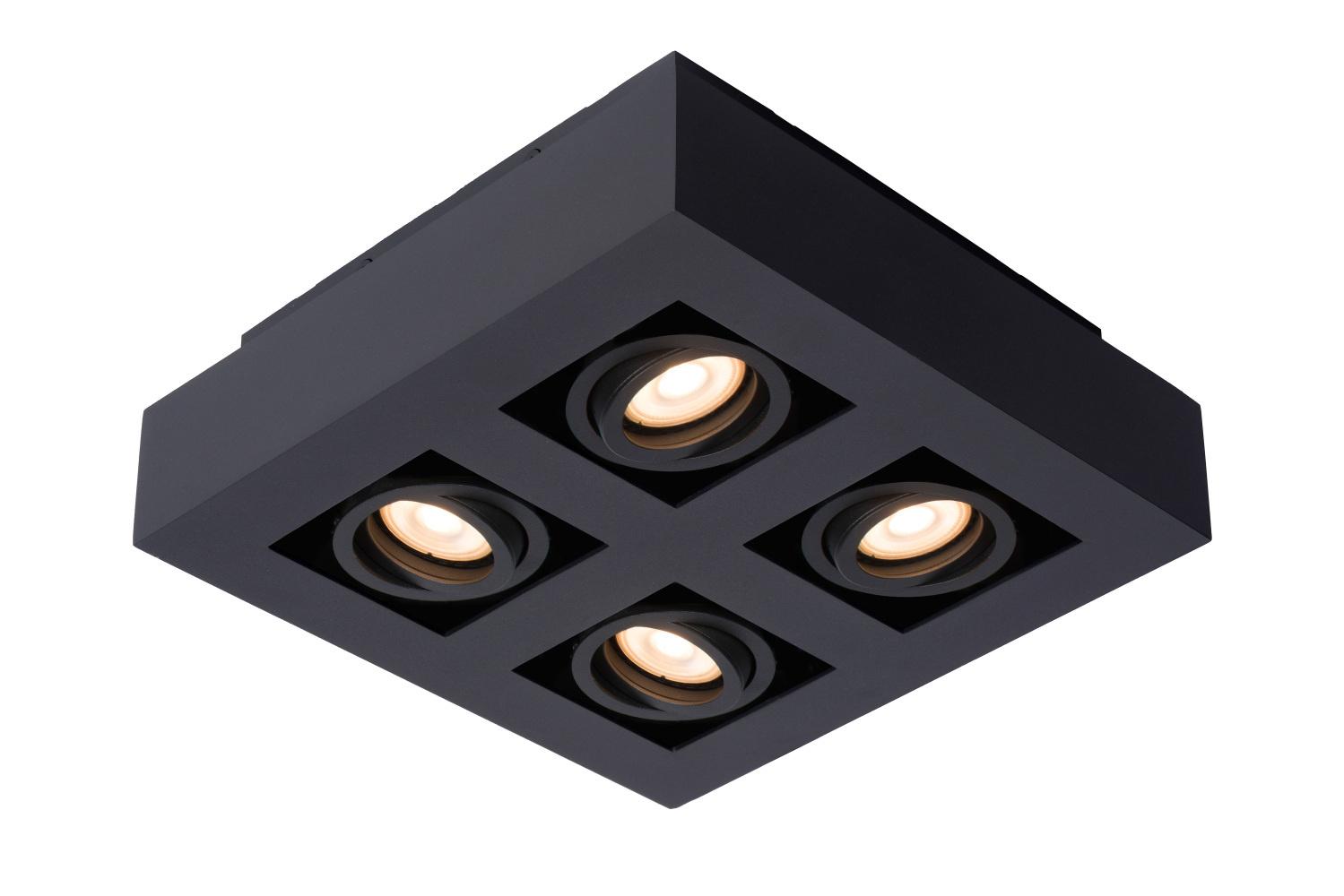 Lucide XIRAX Plafondspot-Zwart-LED DTW-4xGU10-5W