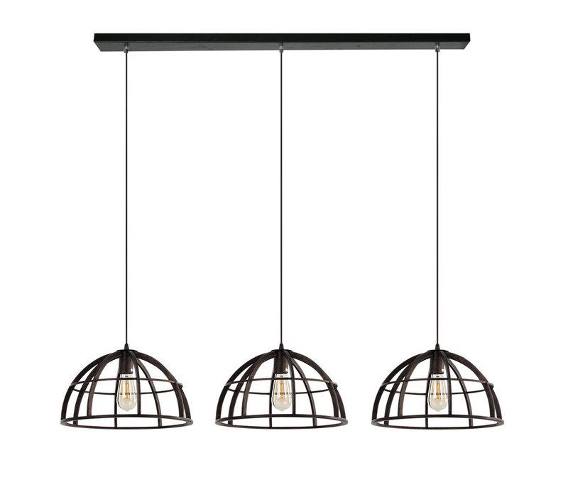 Hanglamp Ferro 3 lichts zwart goud