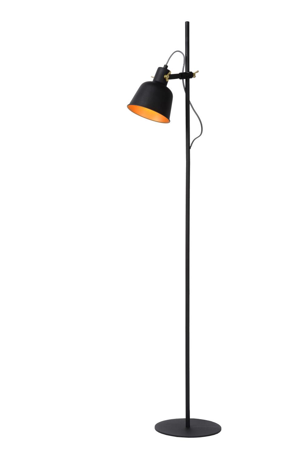 Lucide PIA Vloerlamp-Zwart-1xE27-40W-Staal