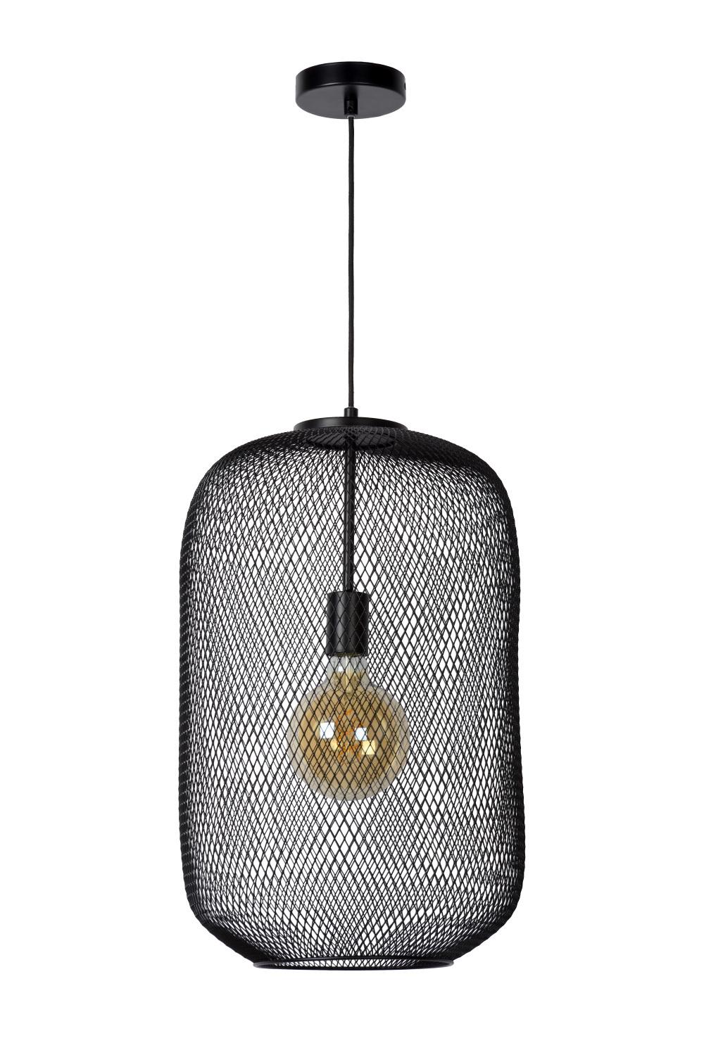 Lucide MESH Hanglamp-Zwart-Ø35-1xE27-40W-Staal