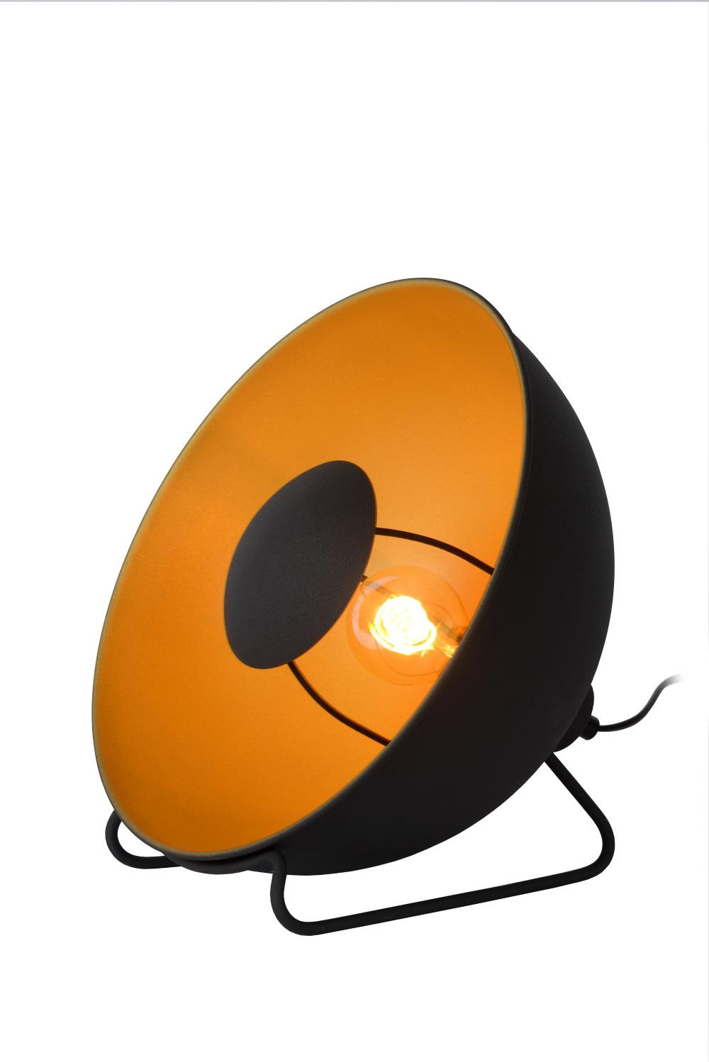 Lucide ALVARO Tafellamp E27/40W Ø 31cm Zwart/mat goud