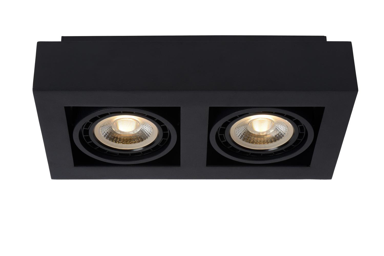 Lucide ZEFIX Plafondspot-Zwart-LED DTW-2xGU10-12W