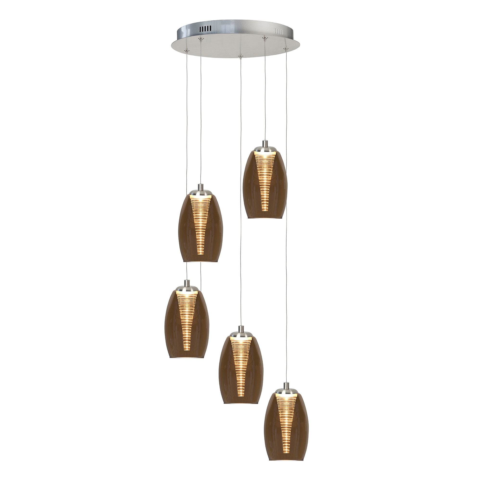 Highlight Hanglamp Nebula 5 Lichts Ø 35 Cm Amber Glas