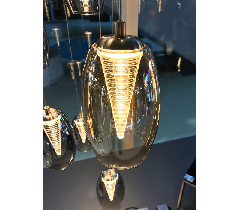 Hanglamp Nebula 12 lichts Ø 50 cm Vide amber glas
