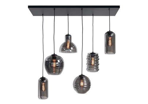 Highlight Hanglamp Fantasy 6 lichts L 100 x  B 35 cm rook glas