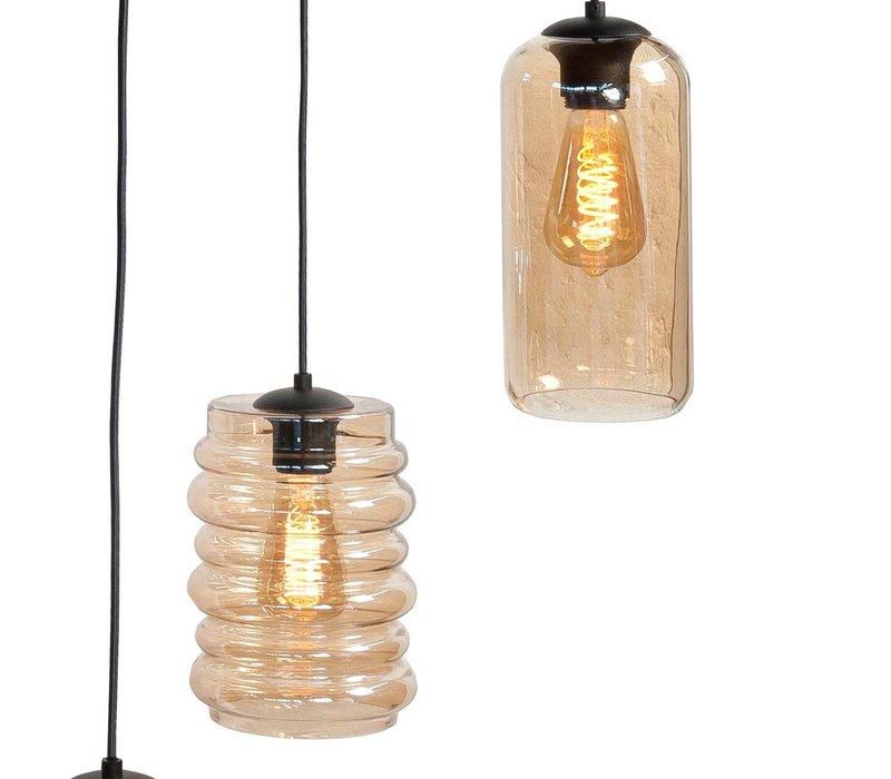 Hanglamp Fantasy 6 lichts L 100 x  B 35 cm amber glas