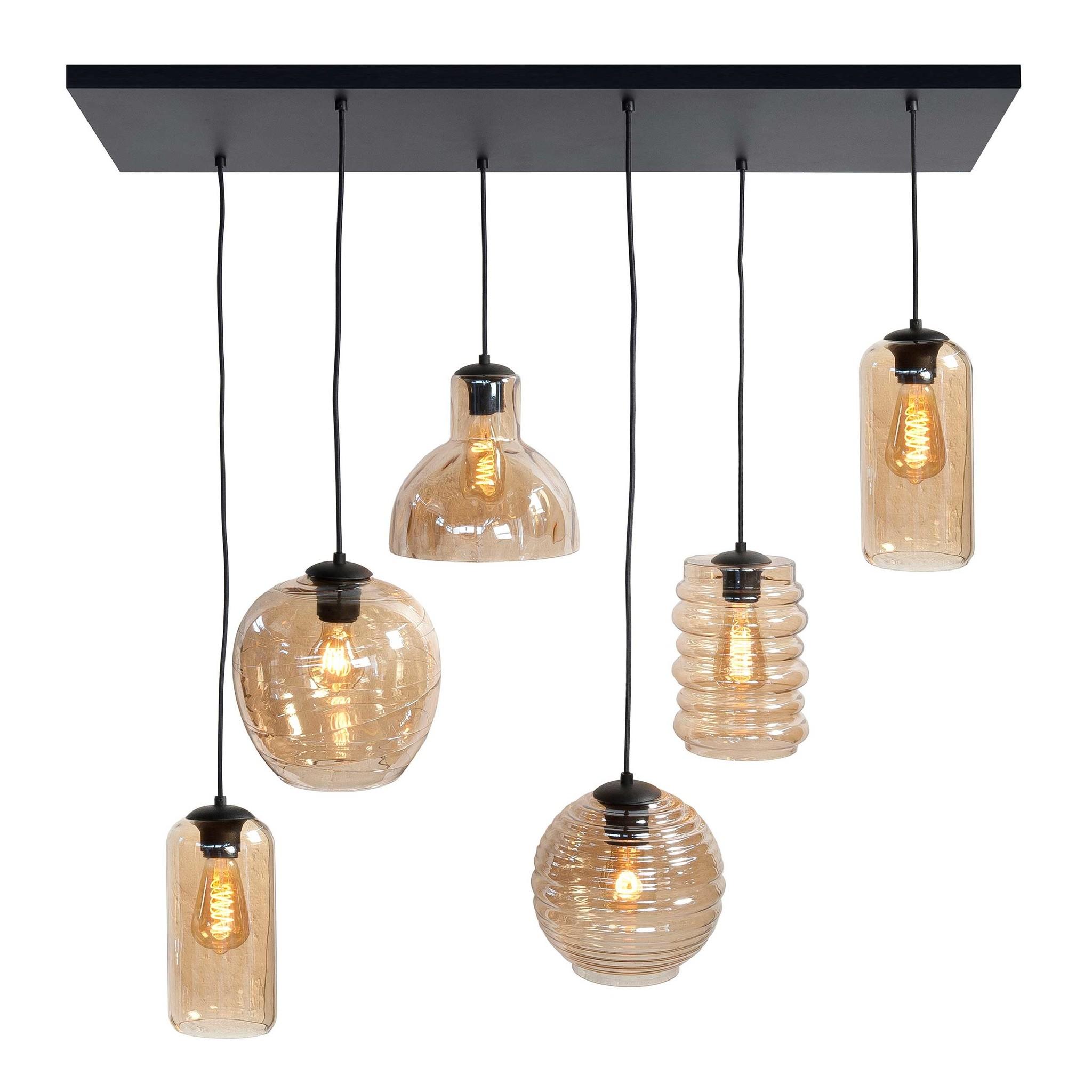 Highlight Hanglamp Fantasy 6 lichts L 100 x B 35 cm amber glas