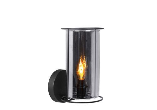 Lucide DOUNIA Wandlamp E27/40W Mat Zwart / smoke glas