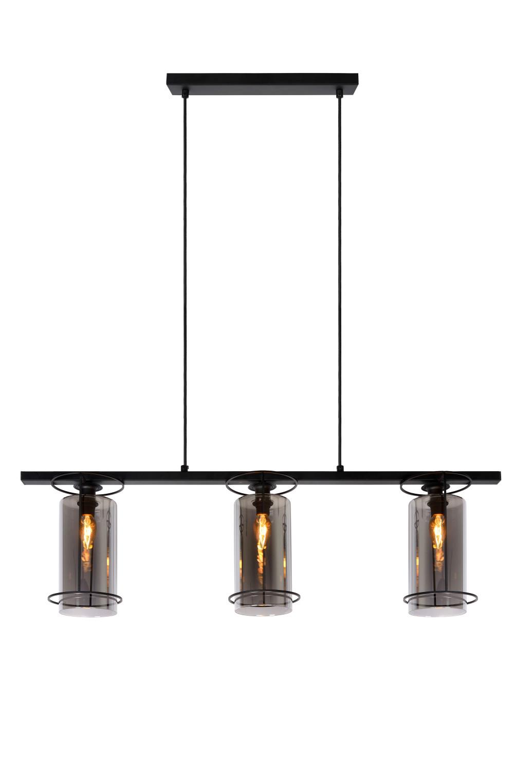 Lucide DOUNIA Hanglamp-Zwart-3xE27-40W-Glas