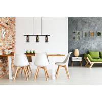 DOUNIA Hanglamp 3xE27/40W Mat Zwart / smoke glas