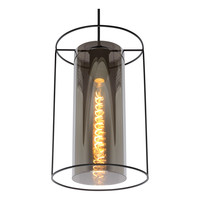 DOUNIA Hanglamp E27/40W Mat Zwart / smoke glas