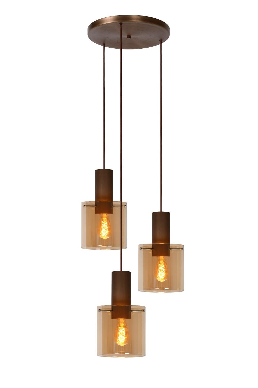 Lucide TOLEDO Hanglamp-Amber-3xE27-40W-Glas