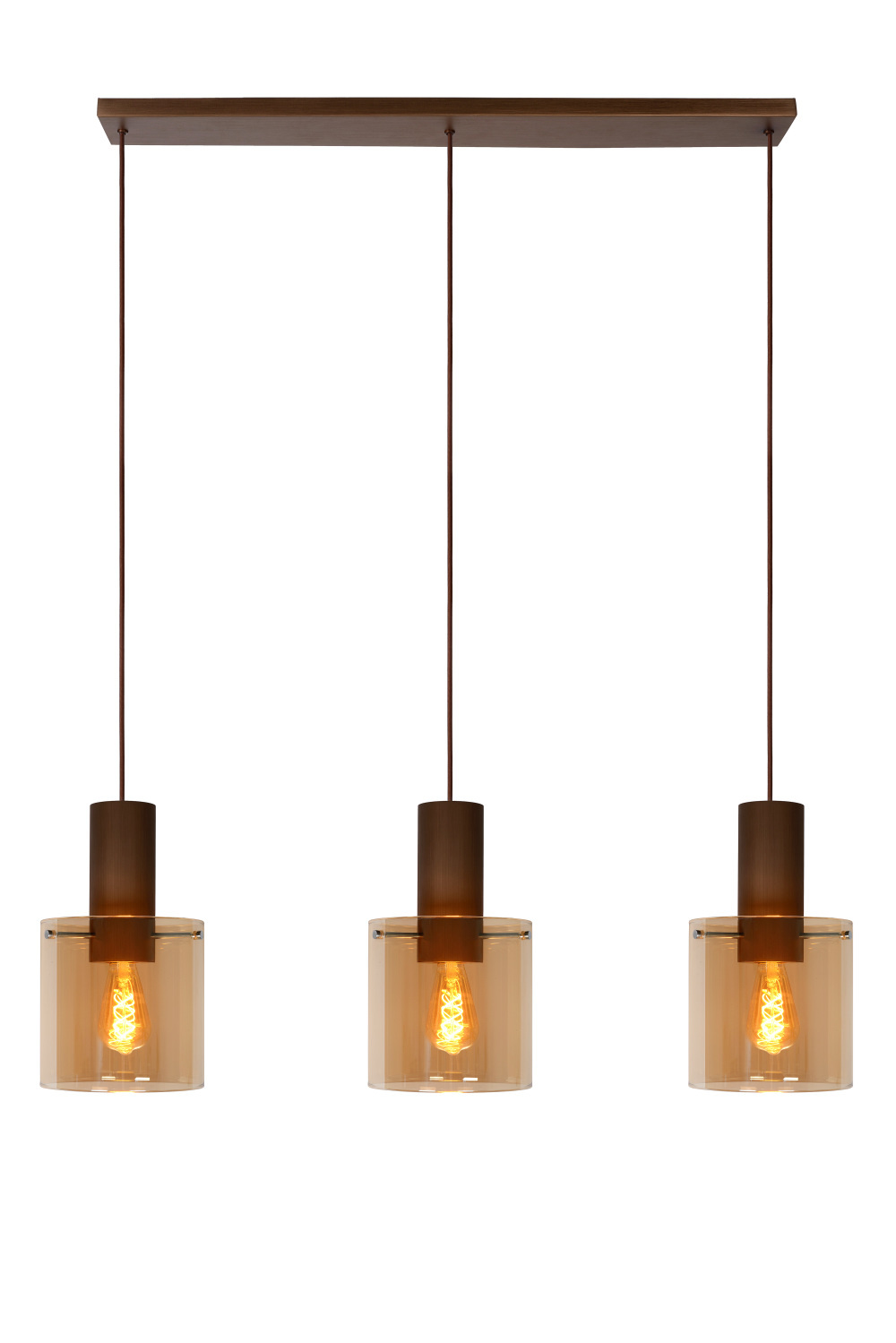 Lucide TOLEDO Hanglamp-Amber-Ø20-3xE27-40W-Glas