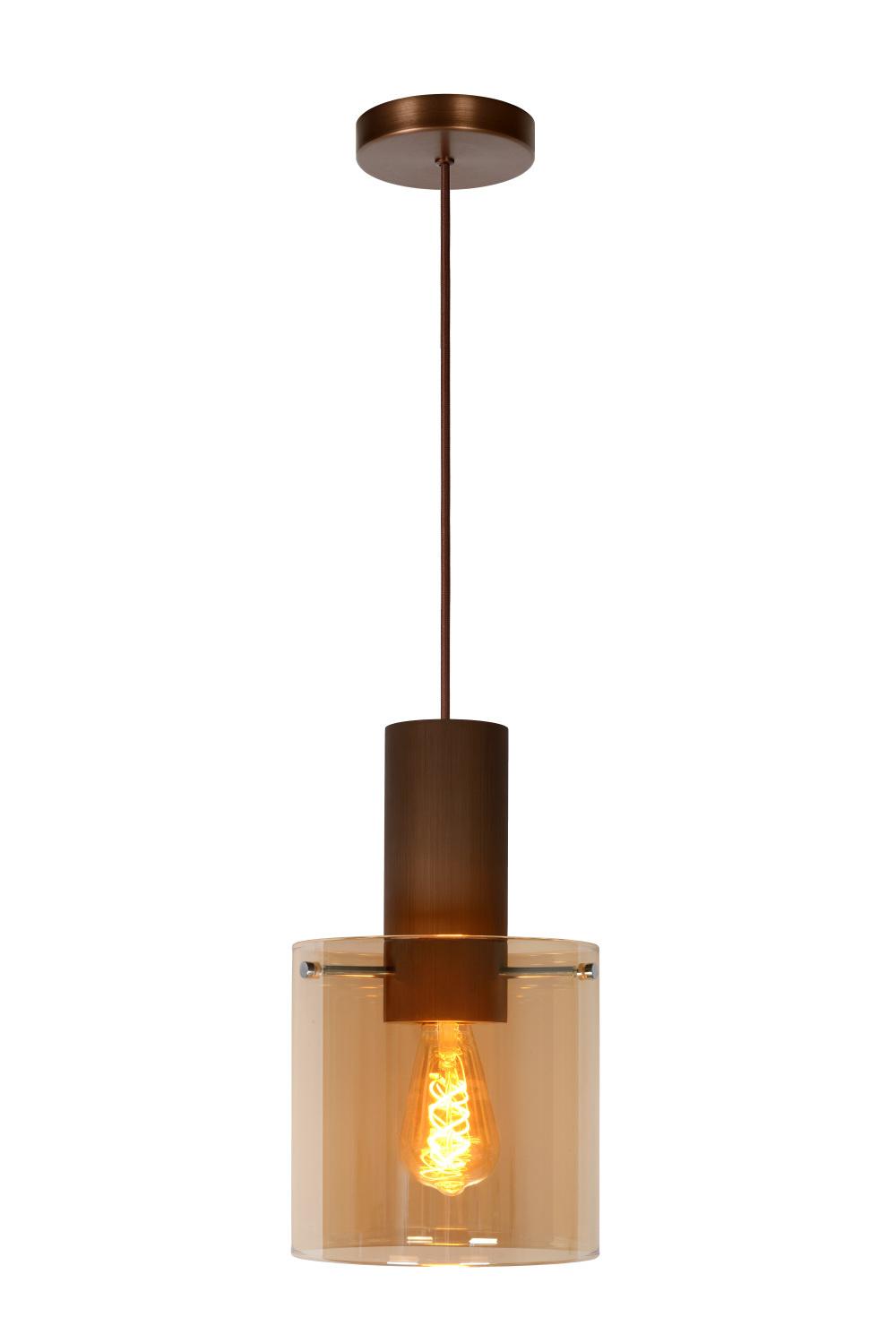 Lucide TOLEDO Hanglamp-Amber-Ø20-1xE27-40W-Glas