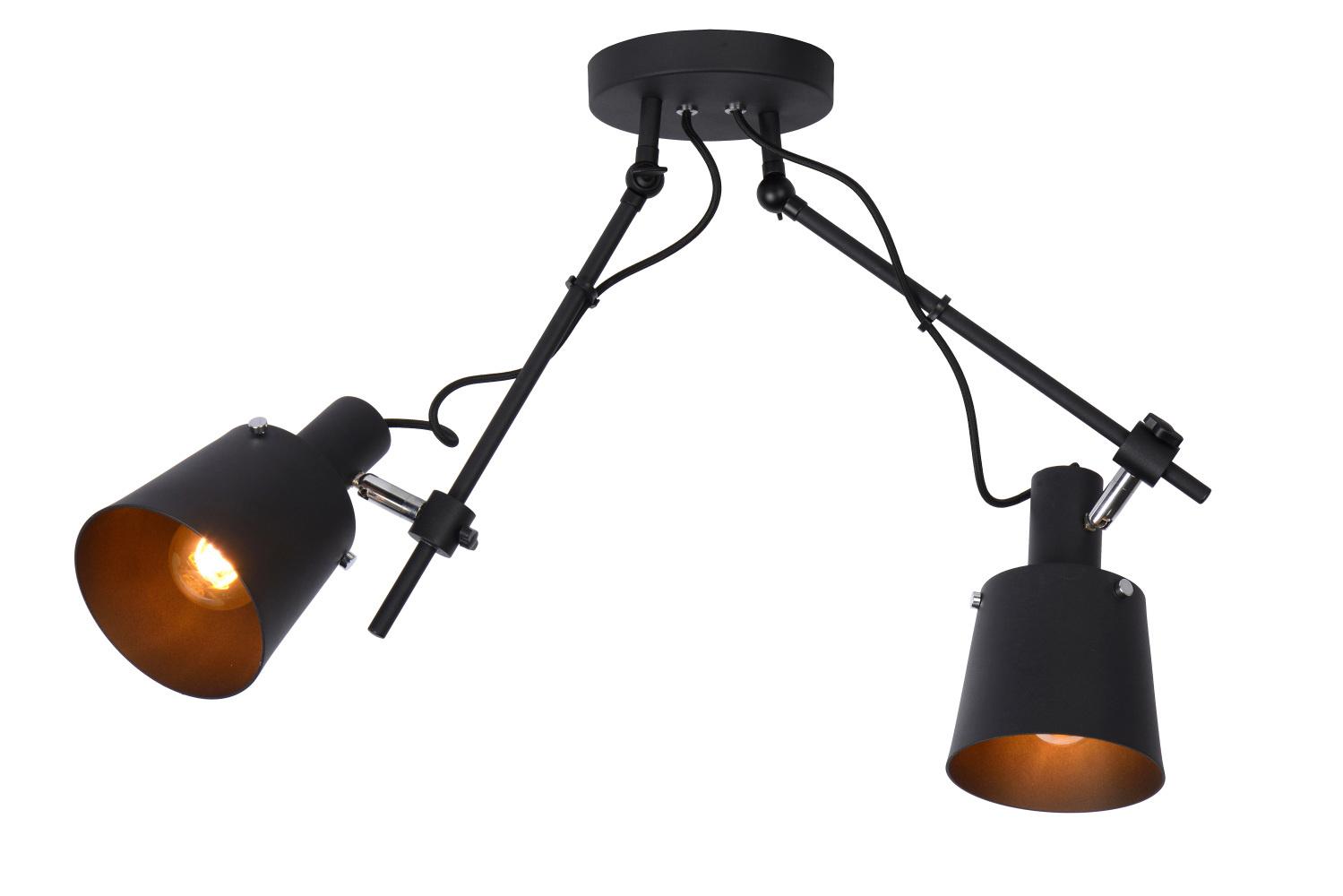 Lucide QUINNY Plafonspot 2x E27/40W H 33.5cm Zwart