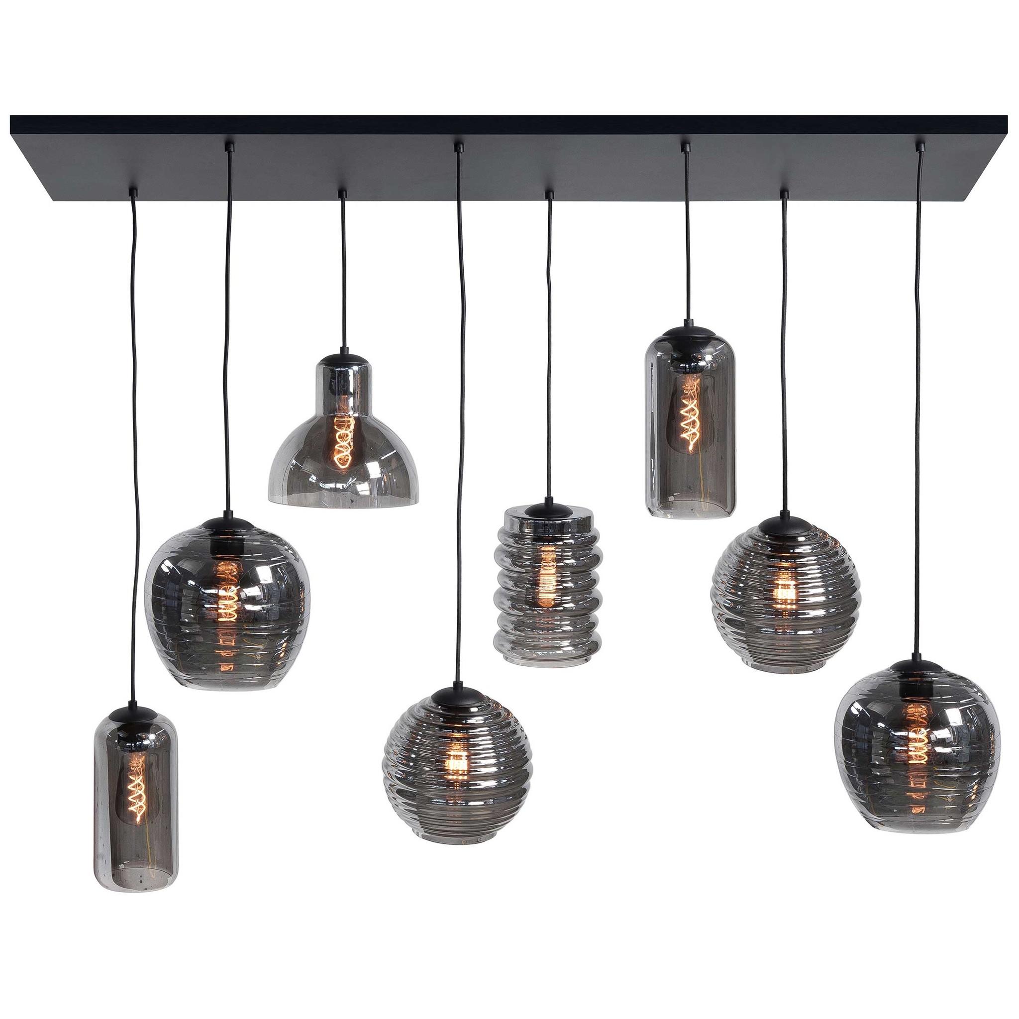 Highlight Hanglamp Fantasy 8 lichts L 130 x B 35 cm rook glas