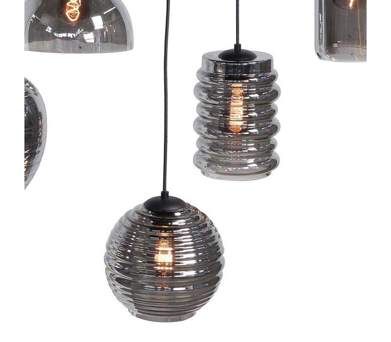 Hanglamp Fantasy 8 lichts L 130 x  B 35 cm rook glas