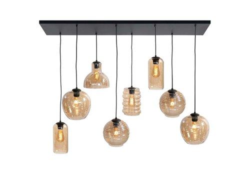 Highlight Hanglamp Fantasy 8 lichts L 130 x  B 35 cm amber glas