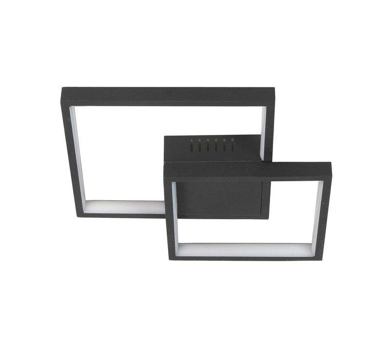 Plafondlamp Piazza vierkant B  32 cm zwart