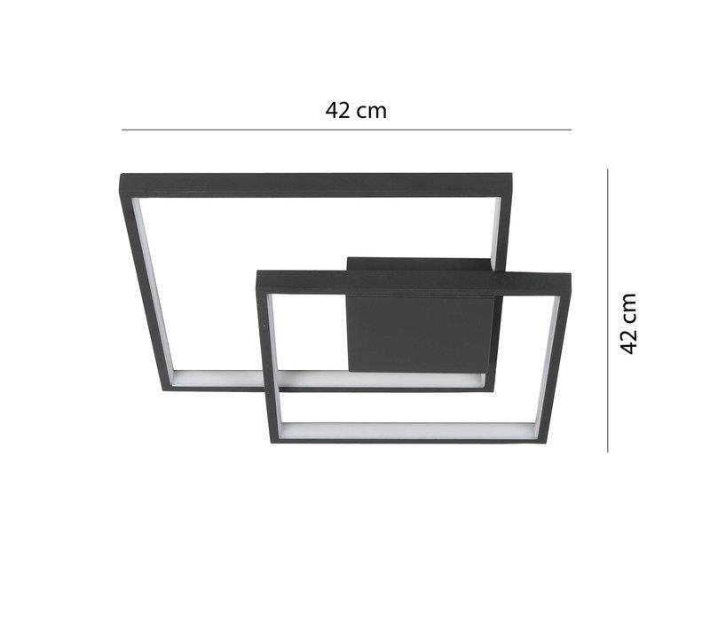 Plafondlamp Piazza vierkant B  42 cm zwart